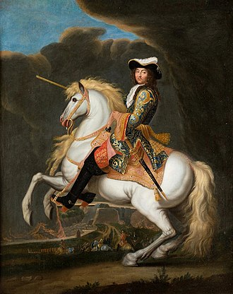 Nine Years' War - Equestrian Portrait of Louis XIV (1638–1715) by René-Antoine Houasse. The 'Sun King' was the most powerful monarch in Europe.