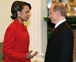 Rice speaks with Russian President Vladimir Putin during an April 2005 trip to Russia