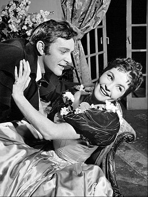 DuPont Show of the Month - Richard Burton and Yvonne Furneaux in the DuPont Show of the Month production of Wuthering Heights, May 9, 1958.