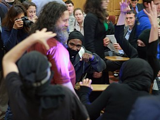 """Xkcd - Hoax attack on Richard Stallman by students dressed as ninjas.  Inspired by """"Open Source"""""""