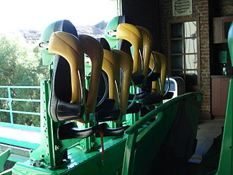 Stand-up roller coaster - Trains feature saddle seats that move vertically to accommodate various heights. (The Riddler's Revenge at Six Flags Magic Mountain)