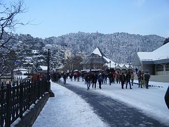 The Ridge, Shimla - The Ridge, Shimla covered in snow as seen from 'Scandal Point'.