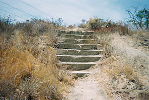 Ridge Route - Remains of the steps to the National Forest Inn