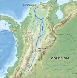 Map of the Magdalena River watershed