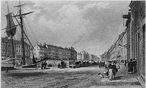 River Farset - The river on High Street, c 1830.