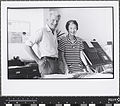 Robin and Lucienne Day in their Cheyne Walk studio with Enigma silk mosaic (1987).jpg