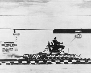 Crash test dummy - Colonel Stapp testing a rocket sled at Edwards Air Force Base