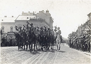 Union of Transylvania with Romania - Romanian troops marching in Transylvania