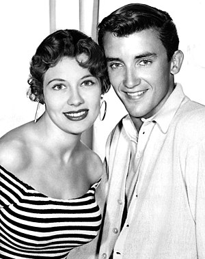 Ronnie Burns (actor) - With actress Jacqueline Beer from the Burns and Allen television show, 1956.