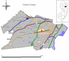 Map of Roselle Park in Union County. Inset: Location of Union County in New Jersey.