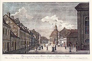 Holy Trinity Church (Berlin) - View of northern Mauerstraße, including Trinity Church, c 1780