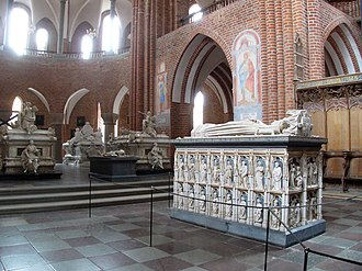 Margaret I of Denmark - Margaret's elaborate tomb, located near subsequent royal sarcophagi at Roskilde