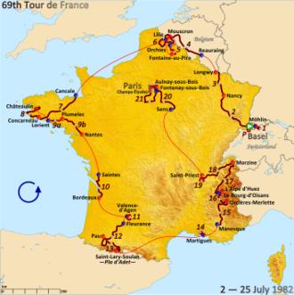1982 Tour de France - Route of the 1982 Tour de France