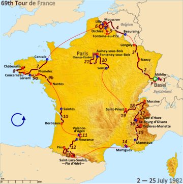 Route of the 1982 Tour de France