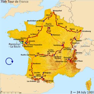 1988 Tour de France - Route of the 1988 Tour de France