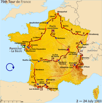 Route of the 1988 Tour de France