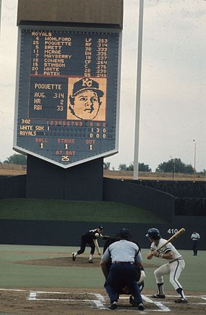 Kauffman Stadium - A game at Royals Stadium on Sunday, September 19, 1976. The pitcher is Chris Knapp and the batter is Tom Poquette. The Royals would beat the White Sox 6 to 5.