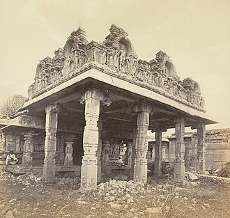Vijayanagara - Image: Ruins of Vijianuggur, the Volkonda Ramachandra temple in Hampi, Vijayanagara, 1868 photo