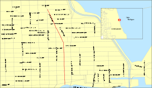 Map of Rush St. in Chicago