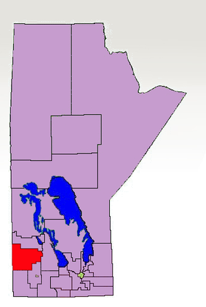 Russell (Manitoba electoral district) - The 1998-2011 boundaries for Russell highlighted in red