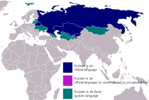 Areas where the Russian Language is spoken