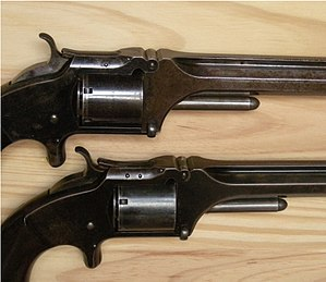 Smith & Wesson Model No. 2 Army - Upper gun early 2 pin variant, lower gun 3 pins