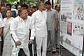 S. Jaipal Reddy going round the 'Delhi Urban Art Commission Exhibition', in New Delhi on April 25, 2006. The Lt. Governor of Delhi, Shri B.L. Joshi and the Chief Minister of Delhi, Smt. Sheila Dikshit are also seen.jpg