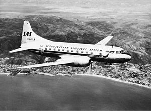 SAS Convair CV-440 Metropolitan, Ivar Viking LN-KLB in the air, in flight.jpg