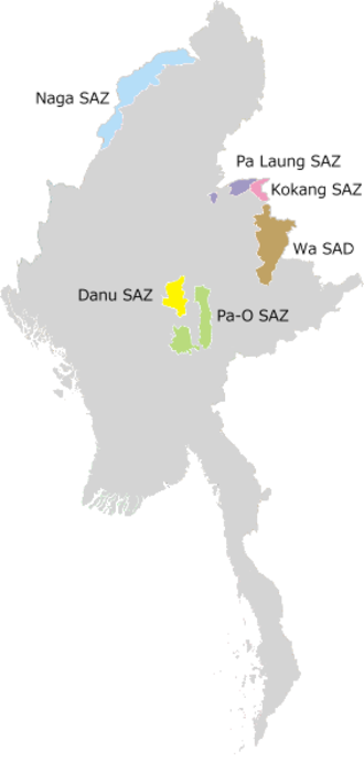 Administrative divisions of Myanmar - Self-Administered Zones and Self-Administered Division