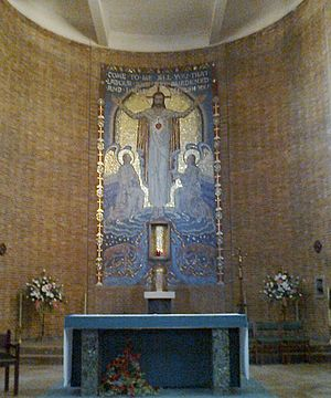 Sacred Heart Church, Hillsborough - Eric Newton's mosaic of the Sacred Heart in the apse.