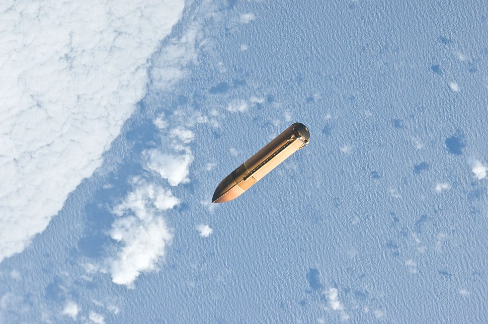 STS-135 External Tank floats away