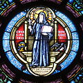 Saint Benedict's Parish (Chesapeake, Virginia) - stained glass, St. Benedict rose window detail - Medal of St. Benedict.jpg
