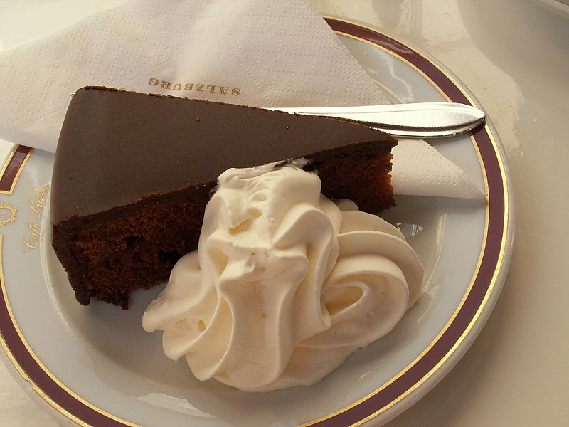 File:Salzburg Sachertorte with whipped cream, April 2007.jpg