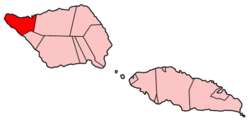Map of Samoa showing Vaisigano district