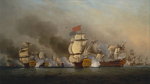 Edward Boscawen - Image: Samuel Scott Vice Admiral Sir George Anson's Victory off Cape Finisterre Google Art Project