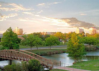 San Angelo, Texas - Pedestrian bridge at a park running along the Concho River