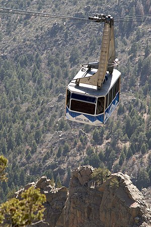 A Sandia Peak Tramway car ascending the mountain.