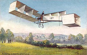 Château de Bagatelle - The Santos-Dumont 14-bis on an old postcard, flying at the château's grounds