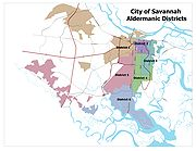 A map showing the Aldermanic Districts of Savannah, Georgia.