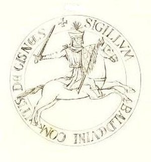 Baldwin III, Count of Guînes - Baldwin's seal, attached to a charter of 1240.