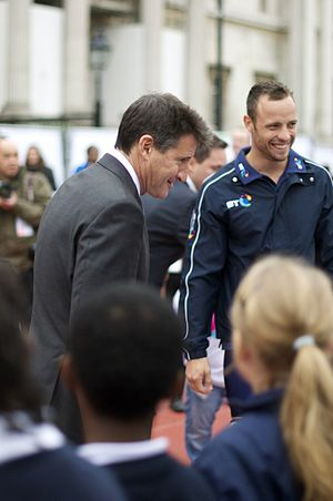 Sebastian Coe - Coe and South African olympian Oscar Pistorius at an International Paralympic Day event at Trafalgar Square on 8 September 2011