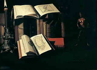 Still-life with books and bronze statue