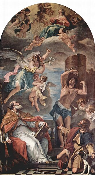 Eusebius of Vercelli - The Virgin Mary in Glory with Archangel Gabriel, and Saints Eusebius of Vercelli (seated), Saint Sebastian, and Saint Roch, Sebastiano Ricci.