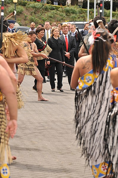 With former Secretary of State Hillary Clinton during a Pōwhiri at Parliament forecourt - Wellington, November 2010.