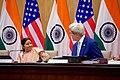Secretary Kerry Acknowledges Indian Minister of External Affairs Shushma Swaraj Before Addressing Reporters at the Jawarhalal Nehru Bhawan in New Delhi (29231170752).jpg