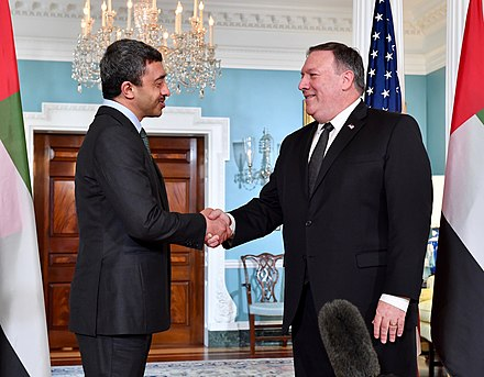 Minister of Foreign Affairs Abdullah bin Zayed Al Nahyan with U.S. Secretary of State Mike Pompeo, 2018 Secretary Pompeo Shakes Hands With UAE Foreign Minister Sheikh Abdullah bin Zayed Al Nahyan (41210385295).jpg