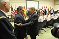 Secretary of Defense Leon E. Panetta receives a warm reception from France's Minister of Defense Jean-Yves Le Drian as they prepare to meet at NATO headquarters in Brussels.jpg