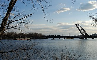 Seekonk River - Seekonk River at Providence, Rhode Island, with a view of the Crook Point Bascule Bridge