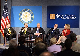 John Negroponte - Senator Jim Webb, Council on Foreign Relations President Richard N. Haass, former Deputy Secretary of State John Negroponte, former Senator John Warner, and journalist Andrea Mitchell at Ronald Reagan Centennial Roundtable in 2011