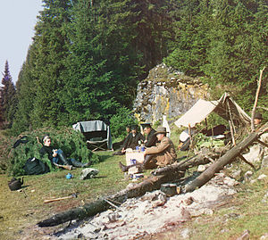 Chusovaya River - Overnight at a cliff on Chusovaya (1912).